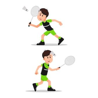 Śliczny mały chłopiec z kilkoma pozami grający w badmintona