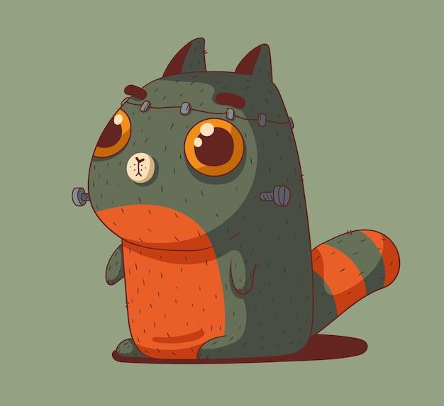 Śliczny mały czerwony kot ubrany na halloween w kostium frankensteina