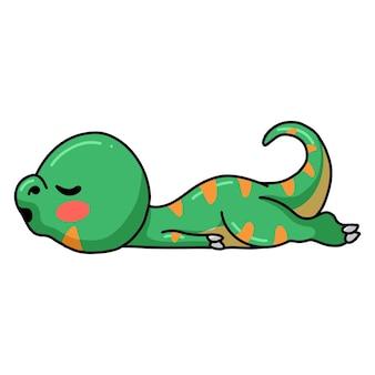 Śliczny mały dinozaur śpiący kreskówka