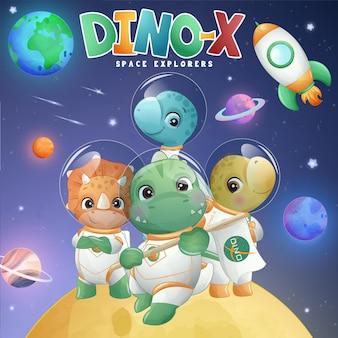 Śliczny mały dinozaur z kosmosu w ilustracji w stylu akwareli