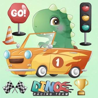 Śliczny mały dinozaur z zestawem ilustracji samochodów wyścigowych