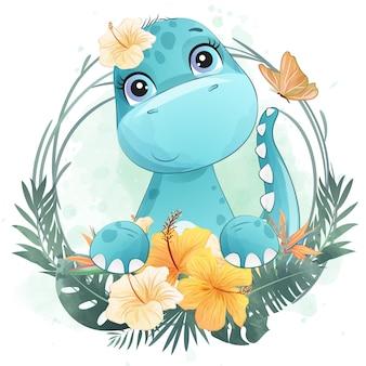 Śliczny mały dinozaura portret z kwiecistym