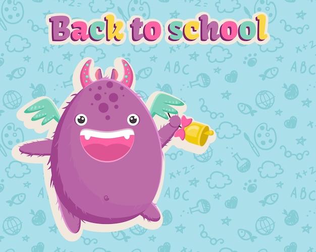 Śliczny mały fioletowy potwór ze skrzydłami jest gotowy na pierwszy dzień szkoły z dzwonkiem w łapie. ilustracja wektorowa. szablon na niebieskim tle z wzorem seamles.