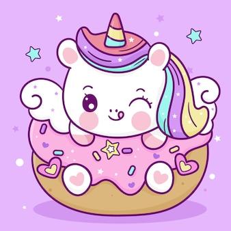 Śliczny mały jednorożec kreskówka kucyk pegaz z tortem urodzinowym kawaii zwierząt