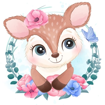 Śliczny mały jeleni portret z kwiecistym
