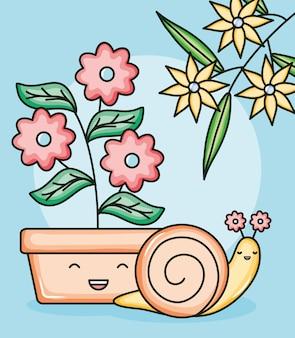 Śliczny mały kawaii charakter ślimaka
