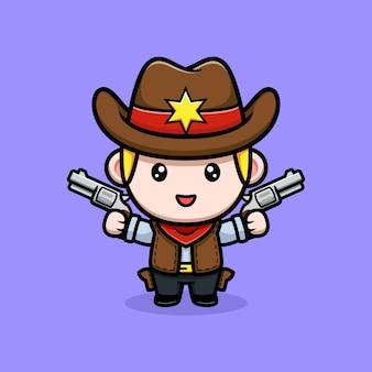 Śliczny mały kowboj trzymający ilustrację maskotki z bronią