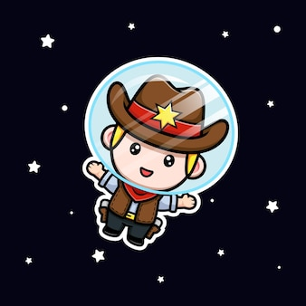 Śliczny mały kowboj unoszący się na ilustracji maskotki kosmicznej