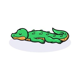 Śliczny mały krokodyl śpiący kreskówka