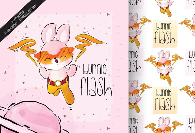 Śliczny mały króliczek bohater postaci z bezszwowym wzorem