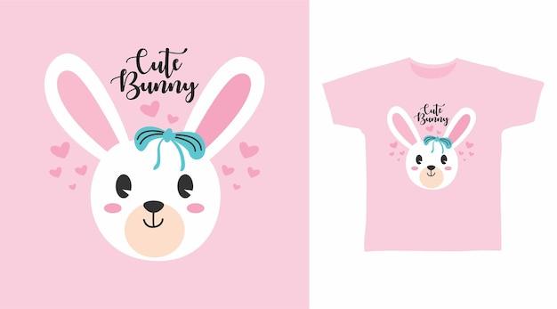 Śliczny mały króliczek t shirt projekt