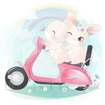 Śliczny mały królik jedzie motocykl
