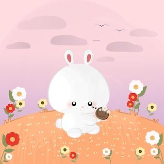 Śliczny mały królik ze ślimakiem