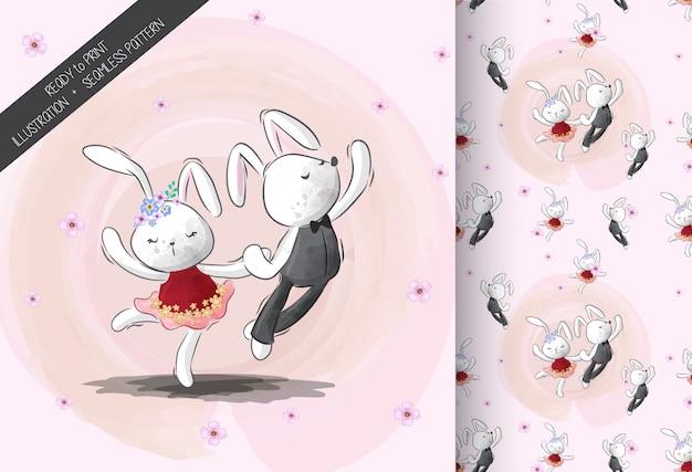 Śliczny mały królika taniec z bezszwowym wzorem