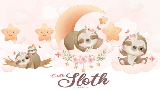 Śliczny mały leniwiec z zestawem ilustracji akwarela