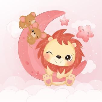 Śliczny mały lew bawiący się razem z myszami w akwareli ilustracji
