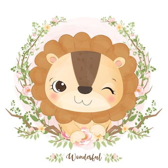 Śliczny mały lew w akwareli