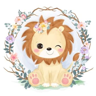 Śliczny mały lew w stylu przypominającym akwarele do dekoracji przedszkola