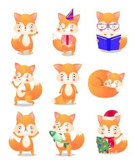 Śliczny mały lis w zestawie akcji. ilustracja w stylu cartoon płaski