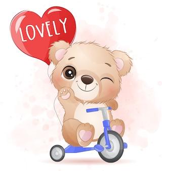 Śliczny mały niedźwiedź jedzie rowerową ilustrację