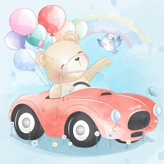 Śliczny mały niedźwiedź jedzie samochód