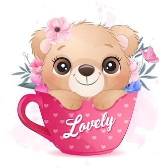 Śliczny mały niedźwiedź siedzi wśrodku filiżanki ilustraci