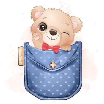 Śliczny mały niedźwiedź siedzi wśrodku kieszeniowej ilustraci