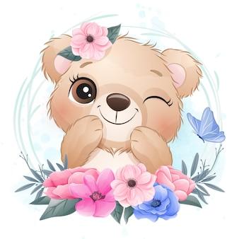 Śliczny mały niedźwiedź z kwiecistą ilustracją