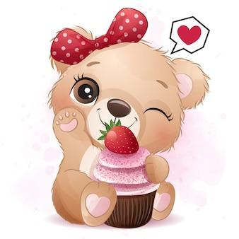 Śliczny mały niedźwiedź z truskawkową babeczki ilustracją