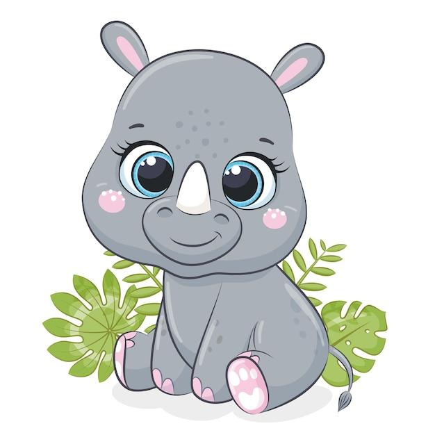 Śliczny mały nosorożec z tropikalnymi liśćmi. ilustracji wektorowych.