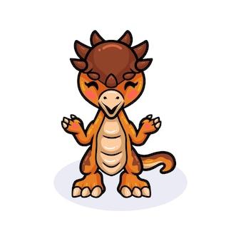 Śliczny mały pachycefalozaur stojący kreskówka dinozaura