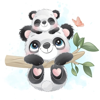 Śliczny mały panda ojciec i dziecka obwieszenie w drzewie