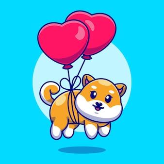 Śliczny mały pies shiba inu pływający z balonem w kształcie serca