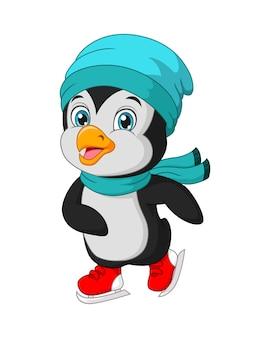 Śliczny mały pingwin grający na łyżwach