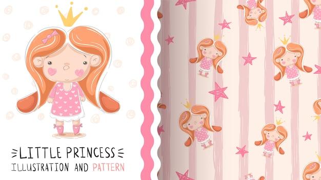 Śliczny mały princess bezszwowy wzór
