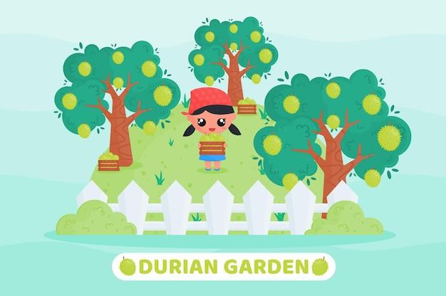 Śliczny mały rolnik zbierający duriana na ilustracji kreskówki w sadzie