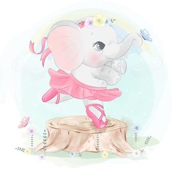 Śliczny mały słoń baletniczy taniec