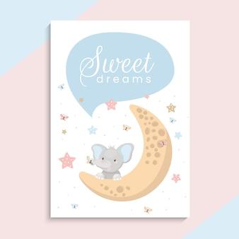 Śliczny mały słoń na księżycu. ilustracja słodkich snów. szablon karty