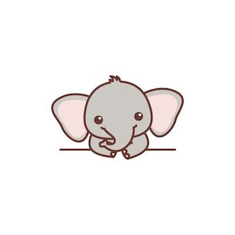 Śliczny mały słoń na ścianie kreskówka