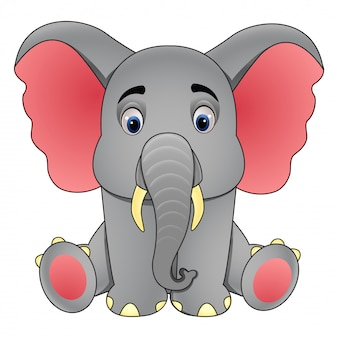 Śliczny mały słoń siedzi