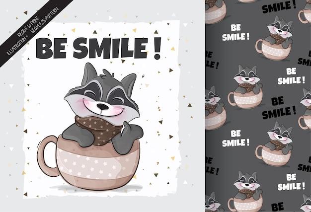 Śliczny mały szop pracz szczęśliwy na ilustracji filiżanki kawy ilustracja tła