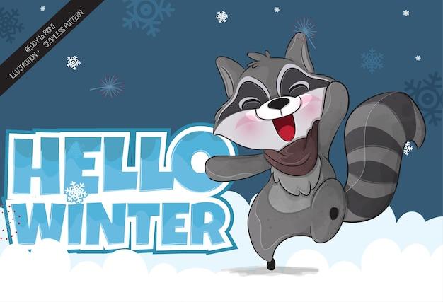 Śliczny mały szop pracz szczęśliwy sezon zimowy ilustracja ilustracja tła