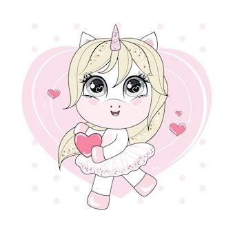 Śliczny mały tańczący jednorożec z blond włosami, trzymając czerwone serce