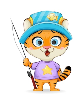 Śliczny mały tygrys idzie na ryby