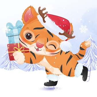 Śliczny mały tygrys na świąteczną ilustrację