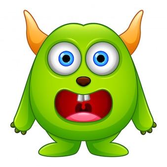 Śliczny mały zielony kreskówka potwór odizolowywający