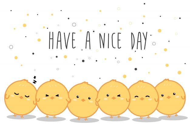 Śliczny mały żółty kurczak kreskówki doodle sztandaru tło