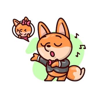 Śliczny męski lis w czarnym garniturze śpiewa dla swojej dziewczyny.
