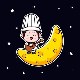 Śliczny męski szef kuchni grający na gitarze i śpiewający na ilustracji maskotki z kreskówek księżyca