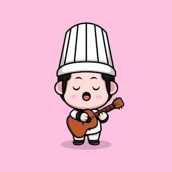 Śliczny mężczyzna kucharz grający na gitarze kreskówka maskotka ilustracja